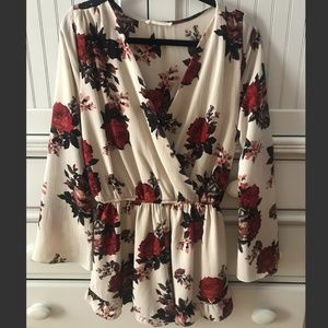Beige Romper with Red Flowers